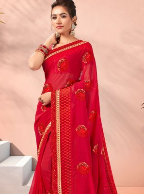 Red Faux Georgette Lace Traditional Saree