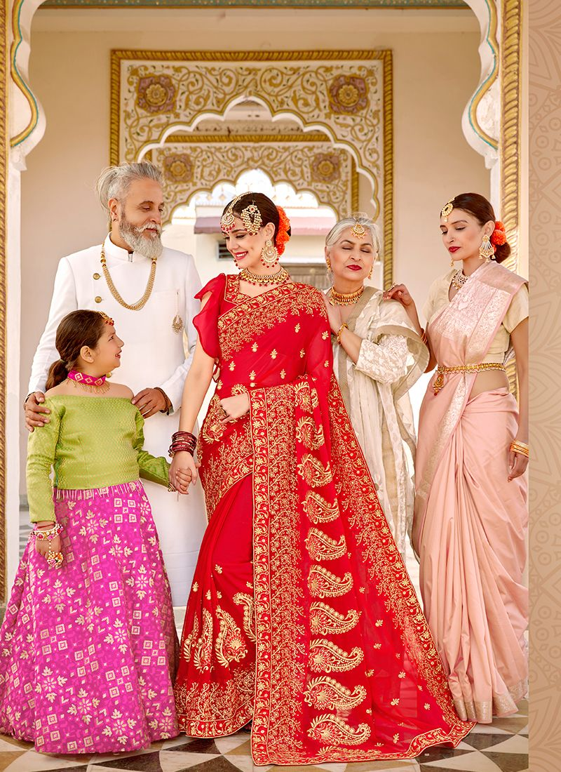 Red Faux Georgette Party Traditional Saree
