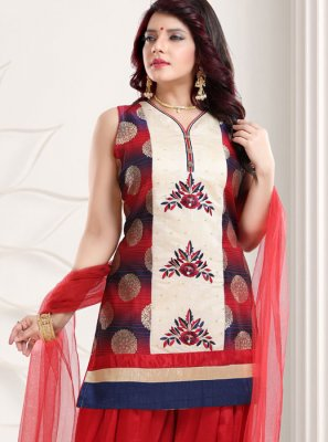 Red Festival Banglori Silk Designer Patiala Suit