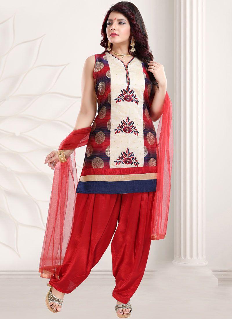 Red Festival Banglori Silk Designer Patiala Suit