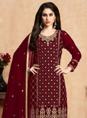 Red Festival Faux Georgette Pant Style Suit