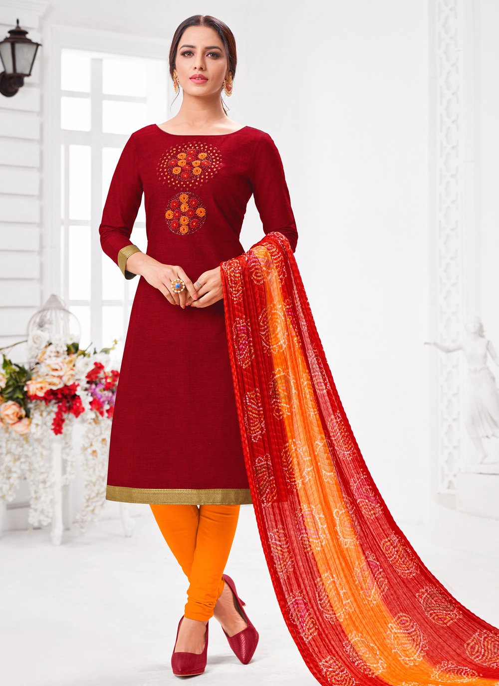 Red Festival Pant Style Suit