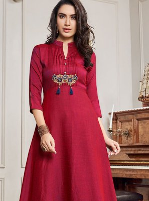 Red Festival Party Wear Kurti