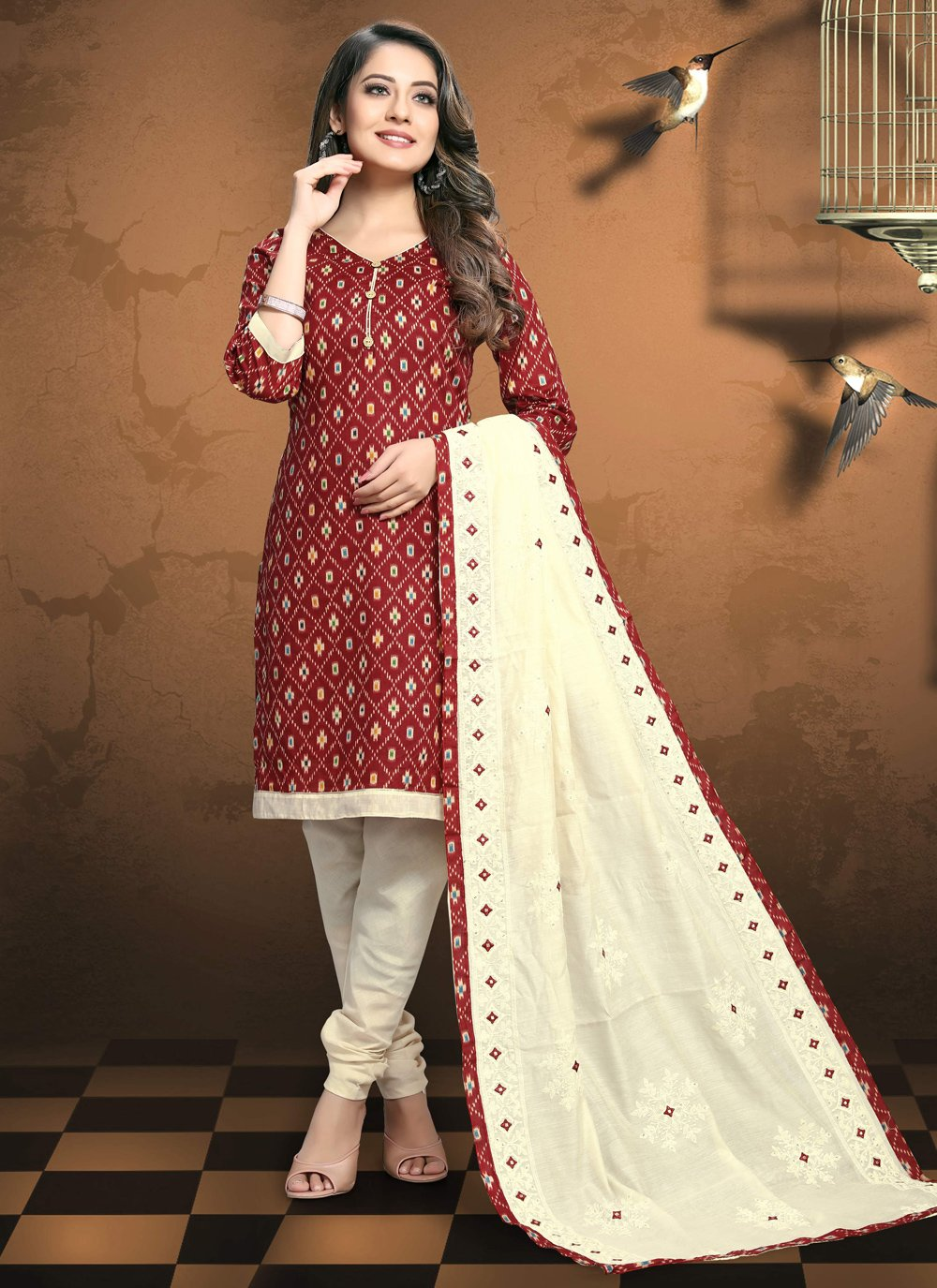 Red Festival Patola Silk  Pant Style Suit