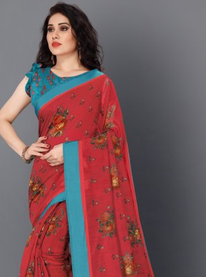 Red Floral Print Casual Saree