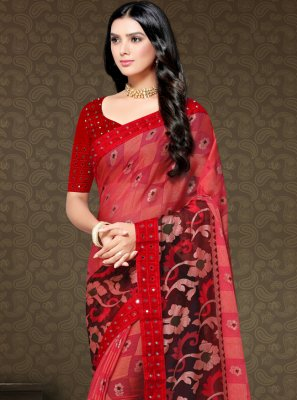 Red Floral Print Party Trendy Saree