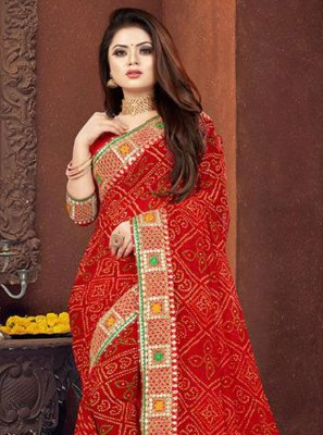 Red Georgette Border Designer Saree