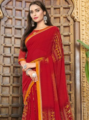 Red Georgette Classic Saree