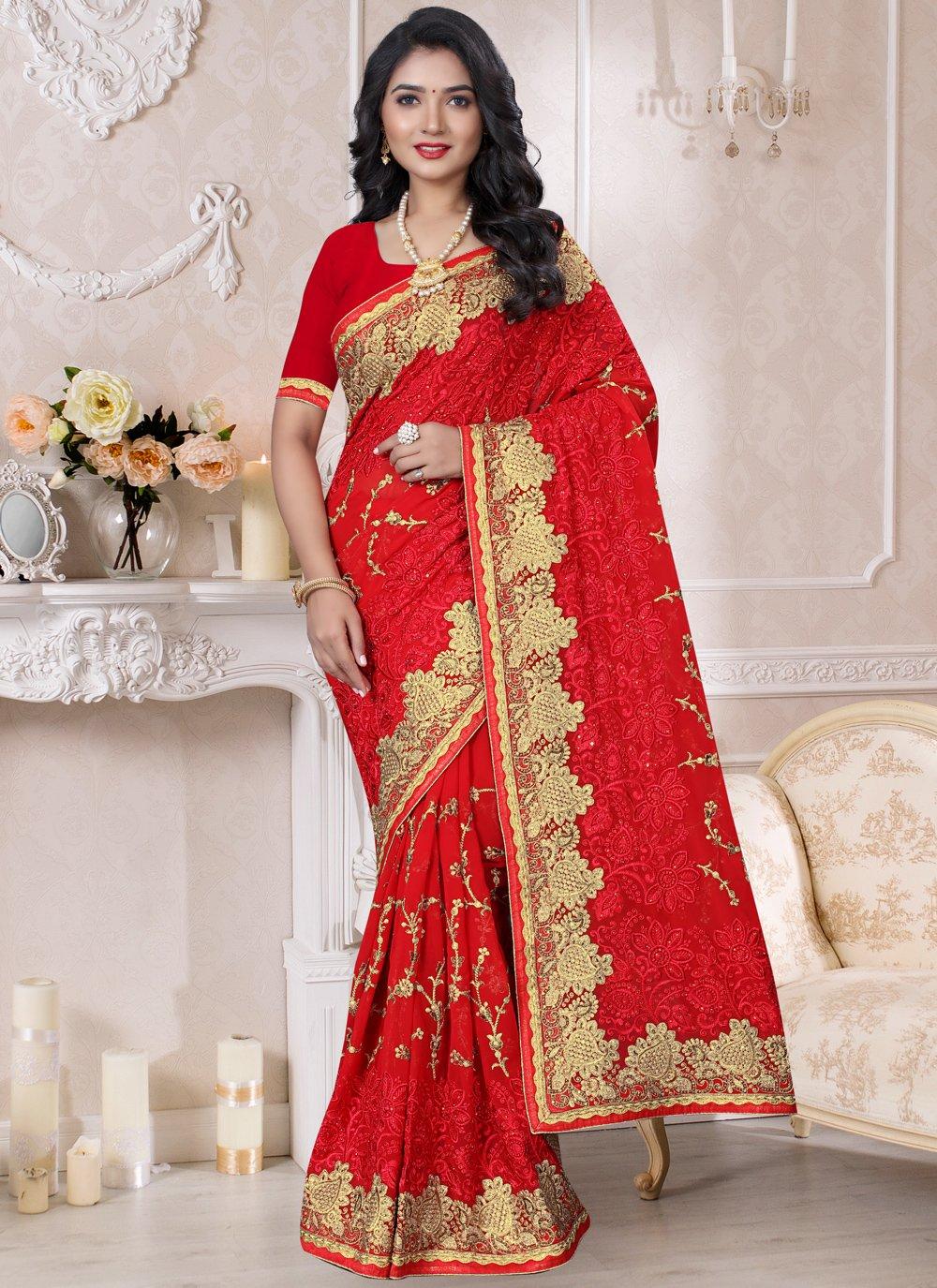 Red Georgette Embroidered Designer Saree