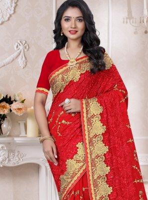 Red Georgette Embroidered Designer Saree