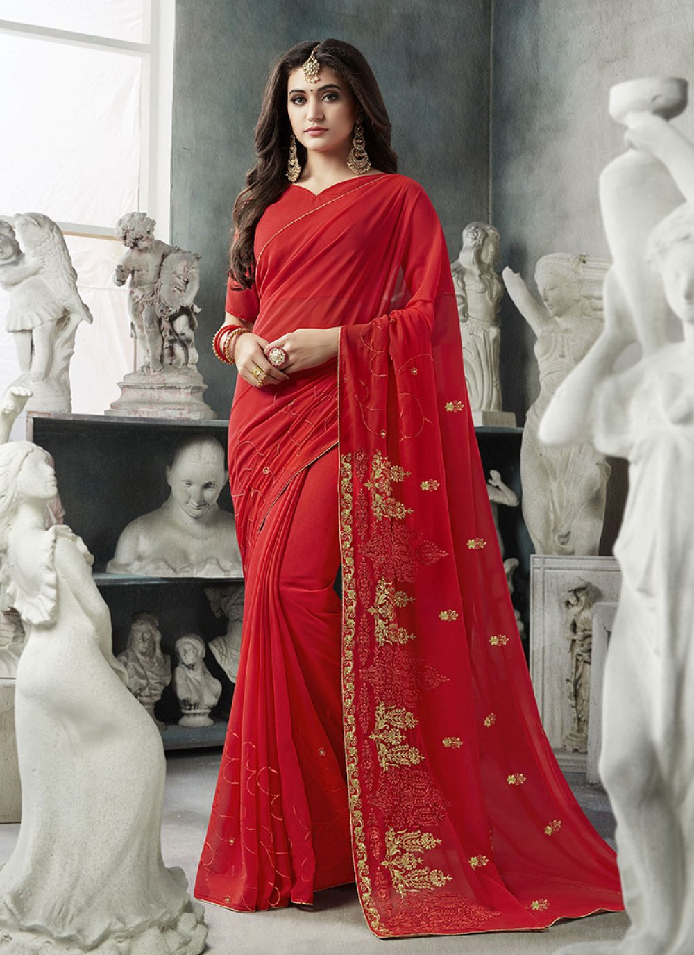 Red Georgette Party Designer Saree