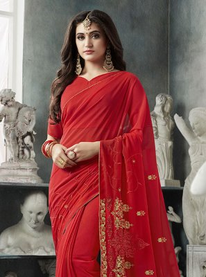 Red Georgette Party Designer Saree