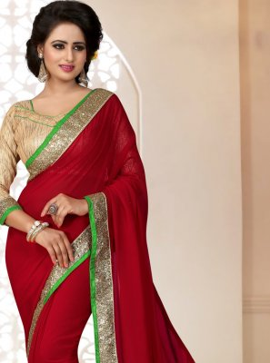 Red Georgette Party Saree