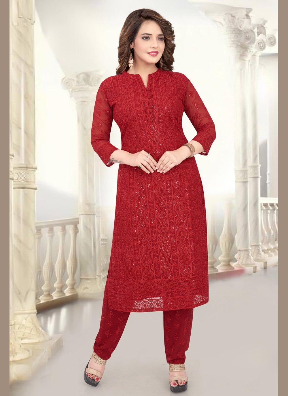 Red Georgette Salwar Kameez