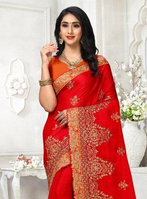 Red Georgette Satin Wedding Contemporary Saree