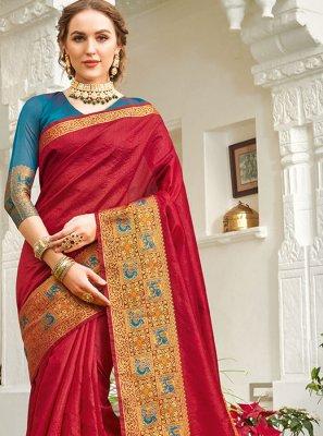 Red Handloom silk Designer Saree
