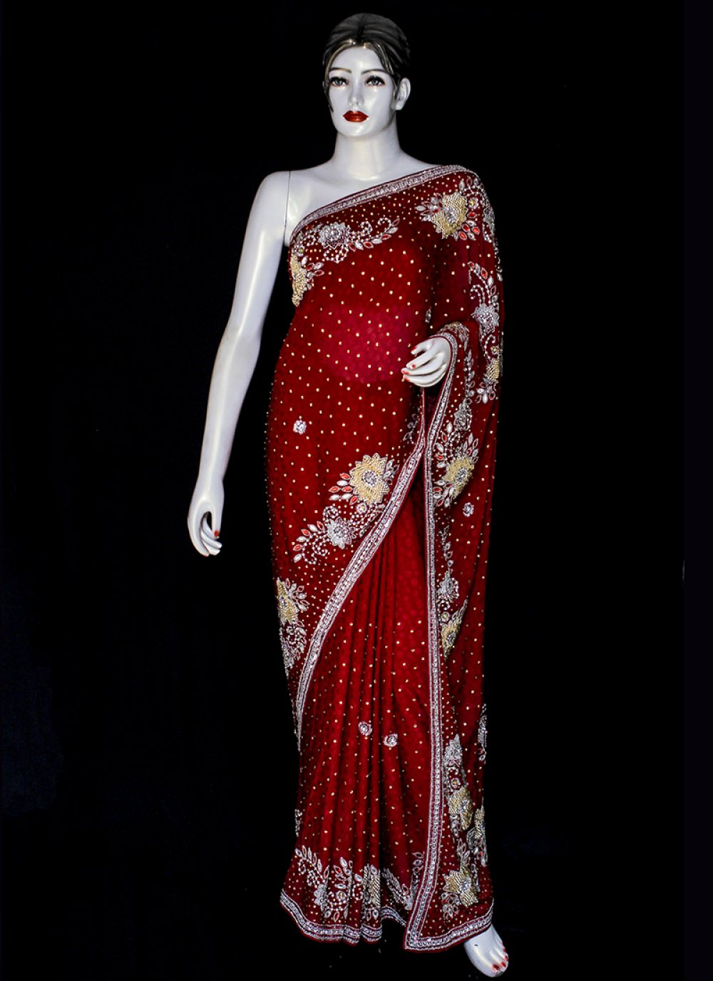 Red Jacquard Wedding Designer Saree