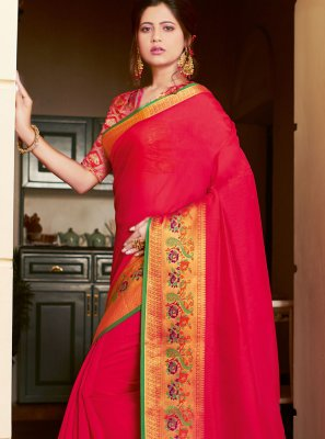 Red Khadi Silk Weaving Casual Saree