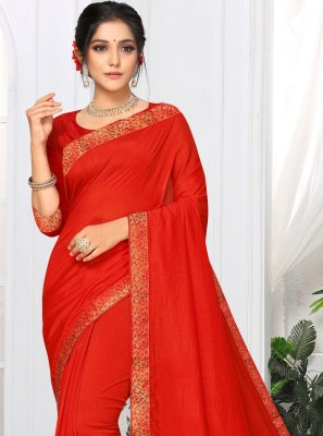 Red Lace Party Casual Saree