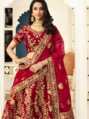 Red Lace Velvet Lehenga Choli