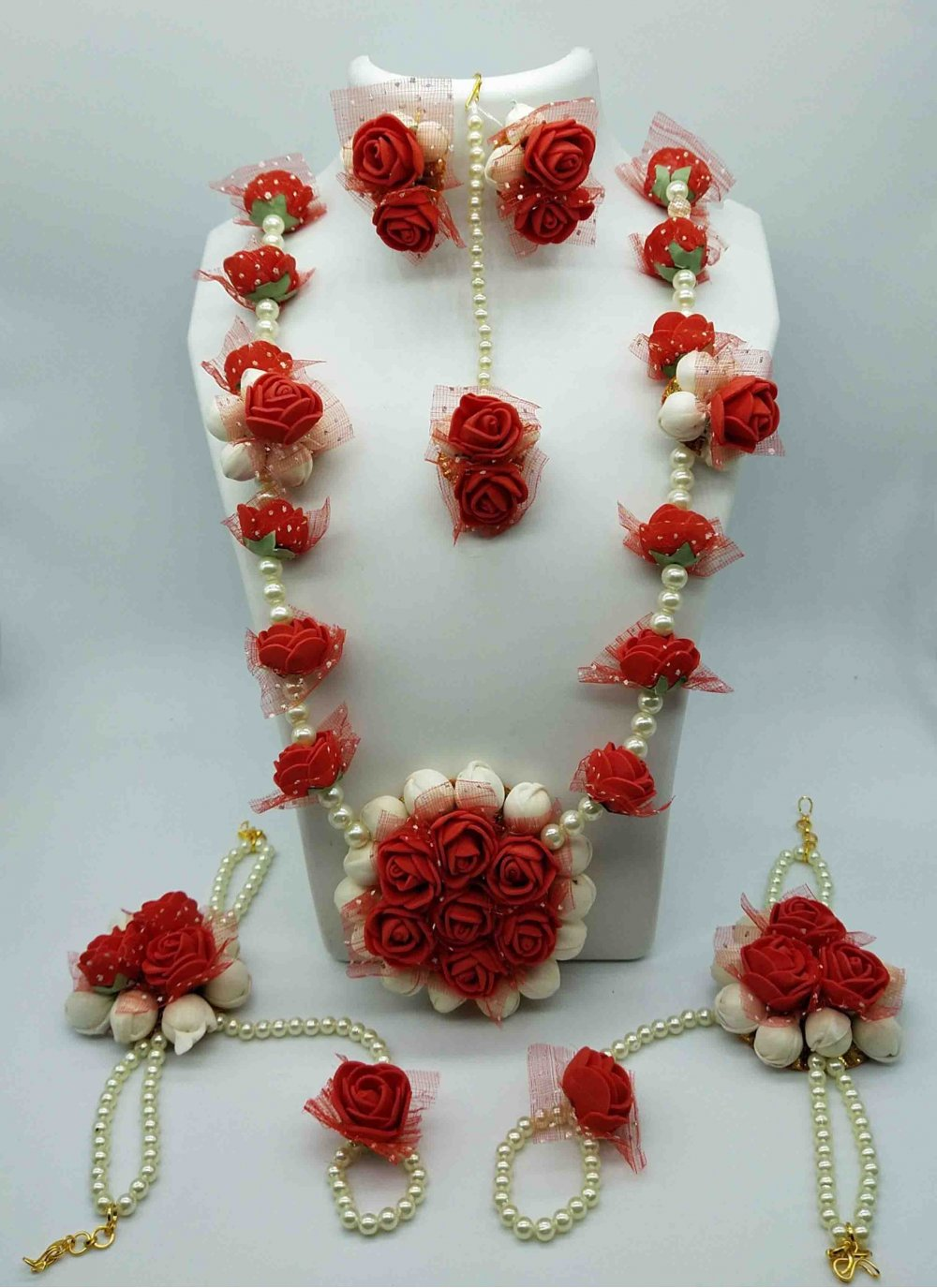 Red Moti Mehndi Necklace Set