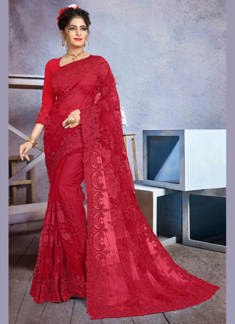 Red Net Reception Traditional Saree