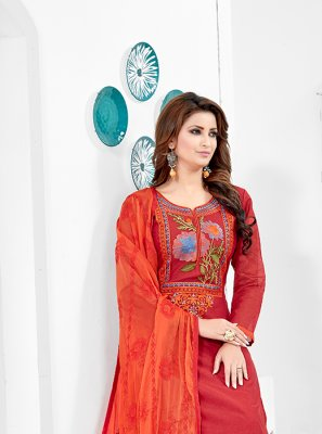 Red Paisley Print Sangeet Salwar Kameez