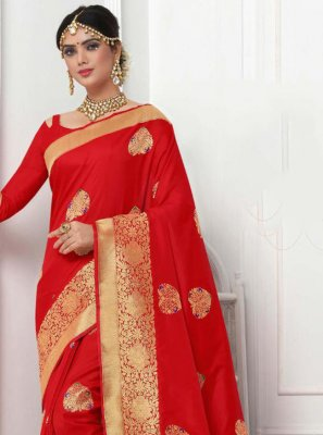 Red Party Bollywood Saree