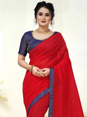 Red Party Contemporary Saree