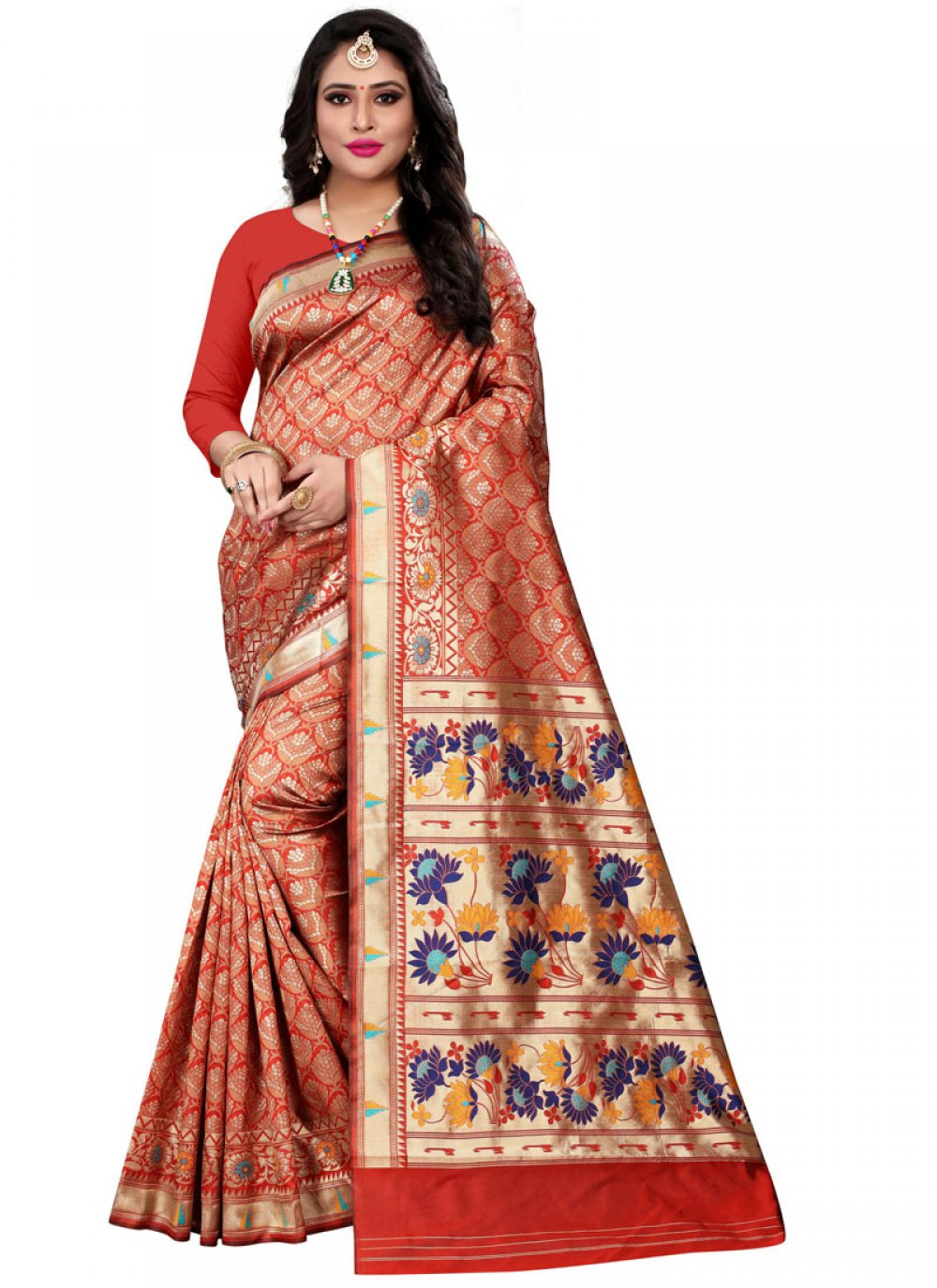 Red Party Cotton Silk Classic Saree