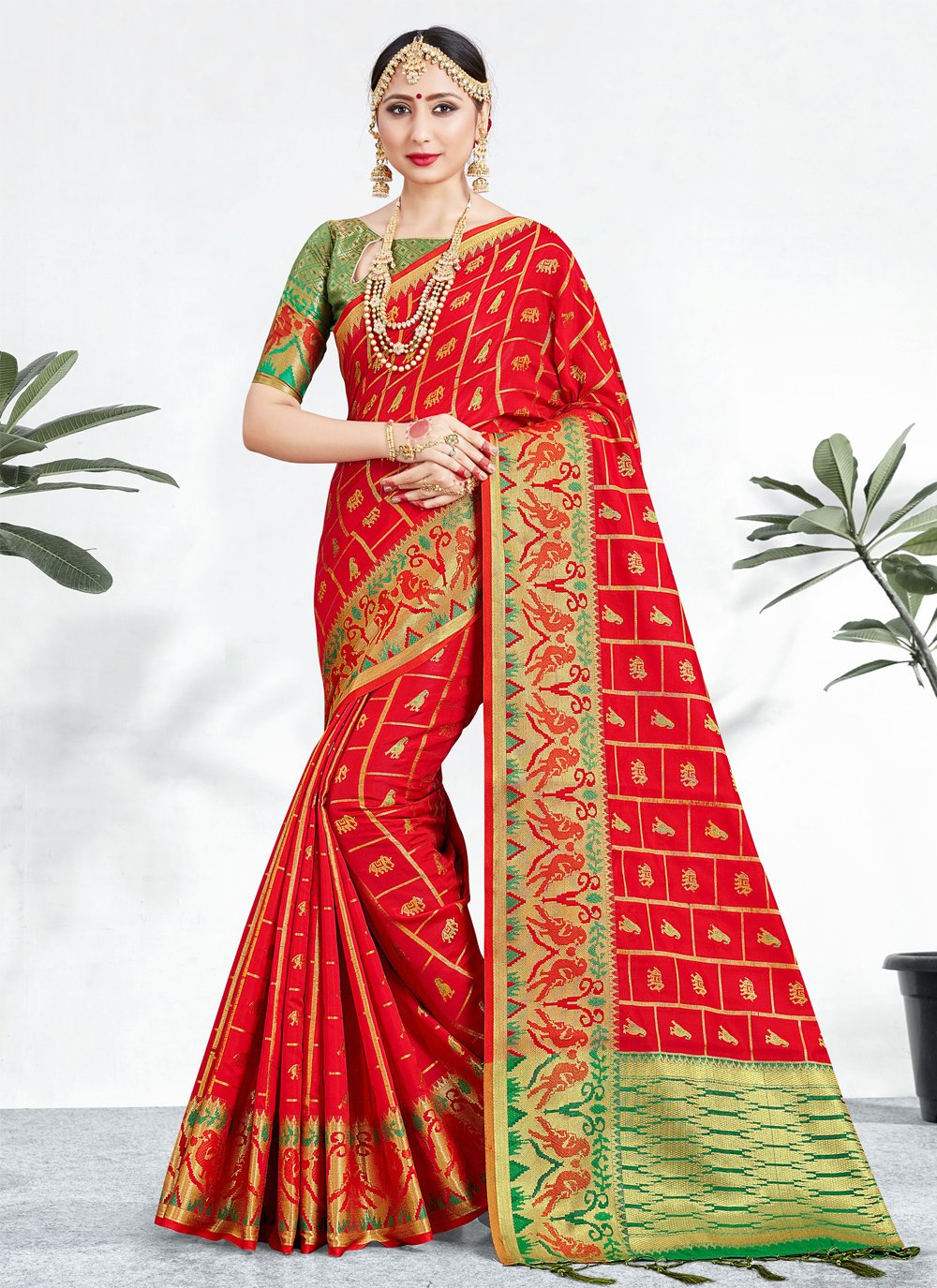 Red Party Traditional Saree