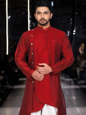 Red Plain Art Silk Indo Western