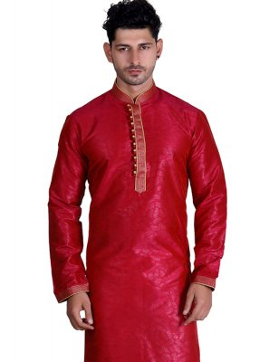 Red Plain Cotton Kurta
