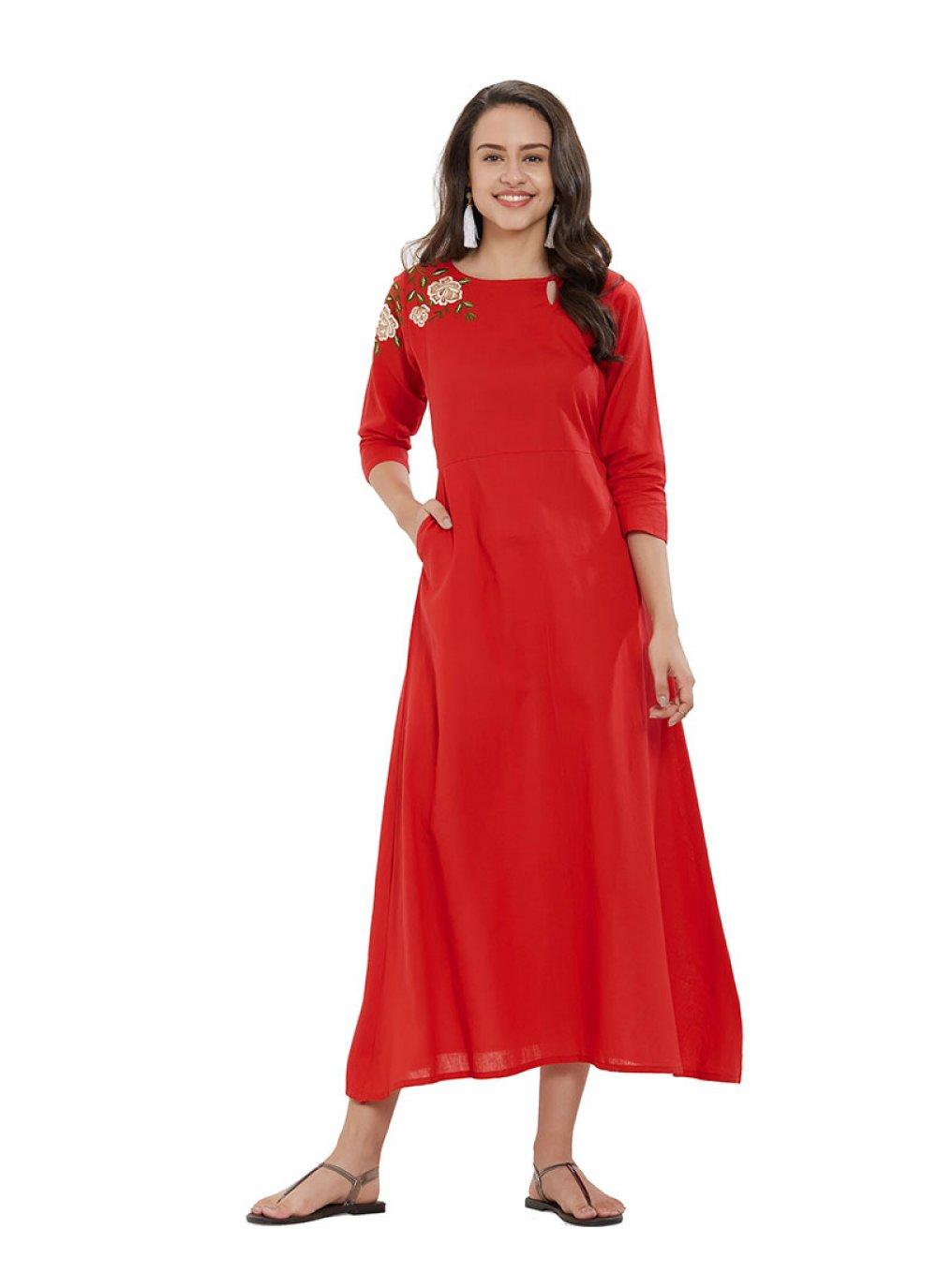 Red Plain Designer Kurti