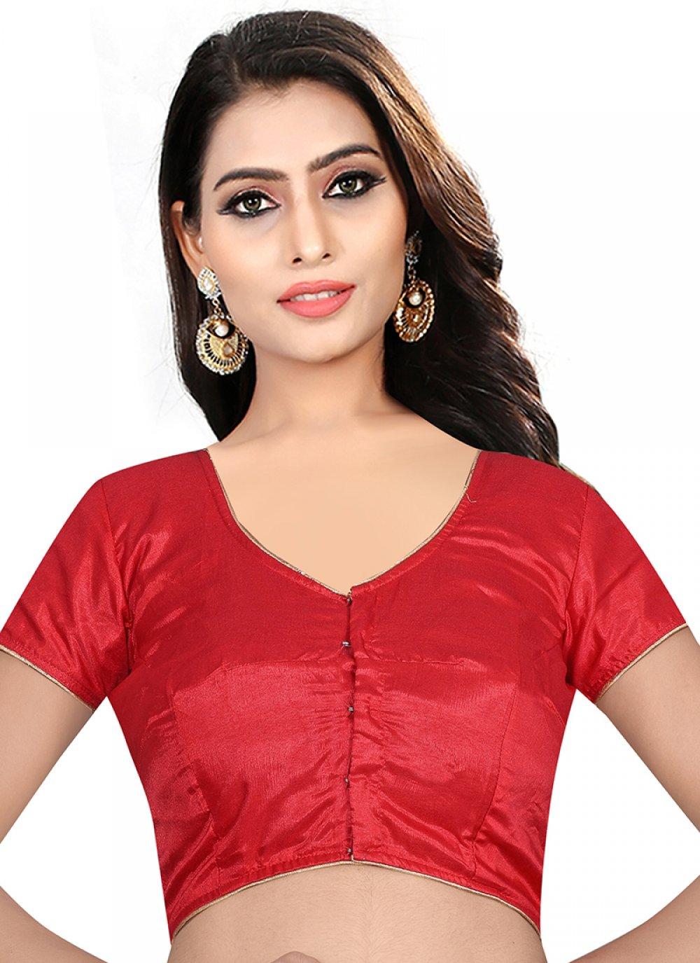 Red Plain Sangeet Designer Blouse