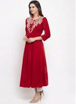 Red Plain Velvet Readymade Salwar Kameez