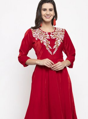 Red Plain Velvet Readymade Salwar Kameez