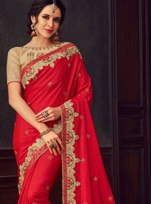 Red Poly Silk Classic Designer Saree