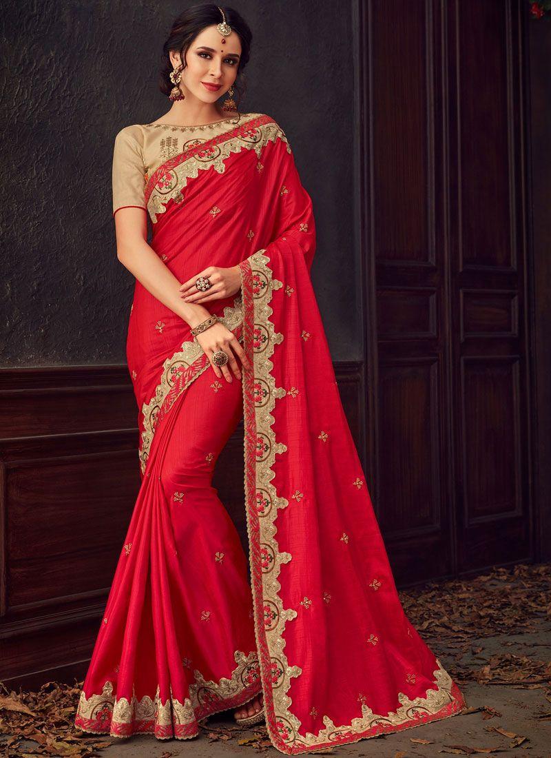 Red Poly Silk Classic Designer Saree