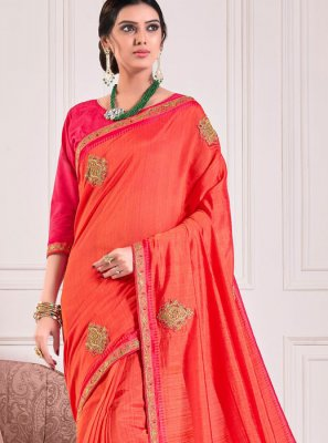 Red Poly Silk Designer Traditional Saree