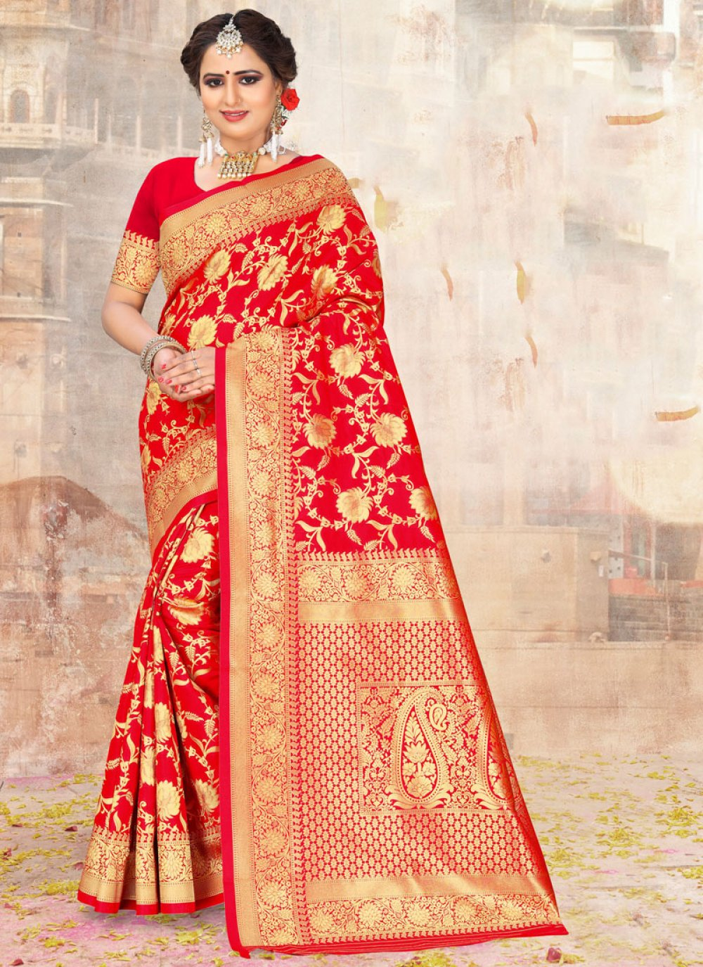 Red Poly Silk Embroidered Classic Designer Saree