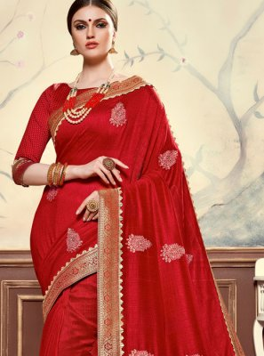 Red Poly Silk Embroidered Designer Saree