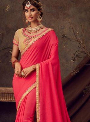 Red Poly Silk Embroidered Silk Saree