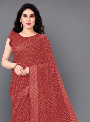 Red Print Classic Saree