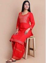 Red Print Rayon Party Wear Kurti