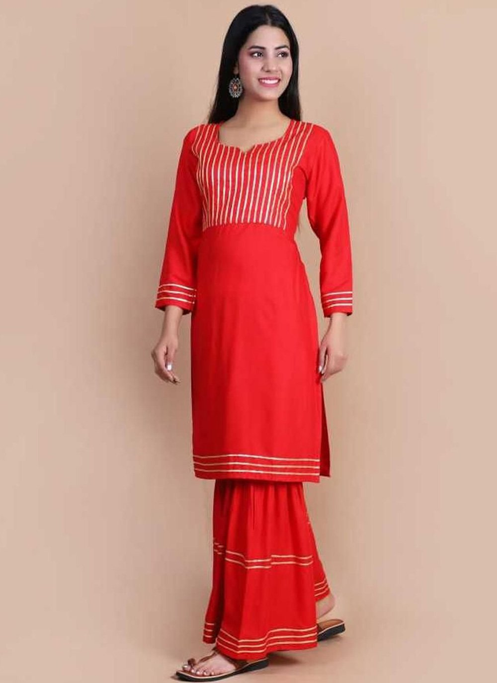 Red Print Rayon Party Wear Kurti