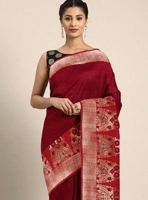 Red Printed Art Silk Printed Saree