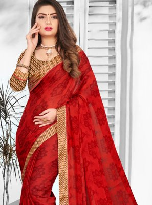 Red Printed Ceremonial Casual Saree