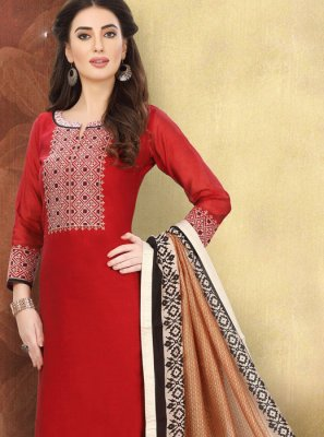 Red Printed Ceremonial Churidar Designer Suit