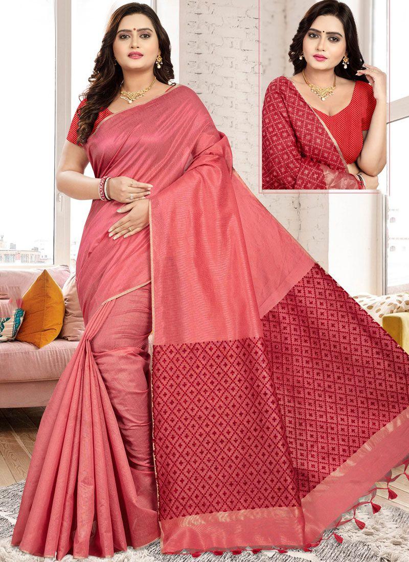 Red Printed Classic Designer Saree